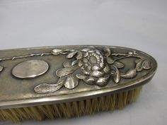250E      Chinese Export hallmarked silver clothes brush / Kleiderbürste China Silber