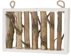 Ideal Wanddeko Rahmen aus Holz natur Holzrahmen mit Zweigen