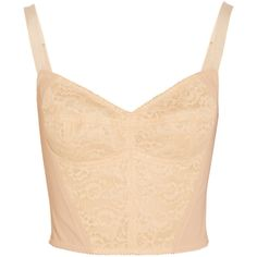 Dolce & Gabbana Boned lace and stretch-mesh bustier ($195) ❤ liked on Polyvore featuring tops, shirts, crop tops, bustier, blusas, neutral, lace bustier top, crop shirt, mesh shirt and crop top