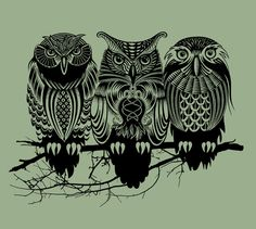 this would be cool with a different background -- something bright!  Owls of the Nile Art Print