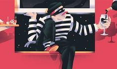 Illustration of burglar being given a glass of wine