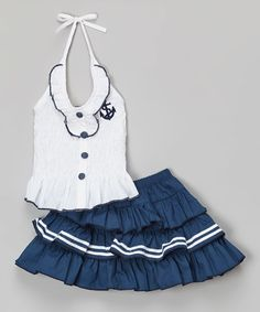 White & Navy Anchor Halter Top & Tiered Skirt - Toddler & Girls by Lele for Kids #zulily #zulilyfinds