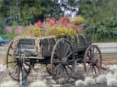 Old wagon used for planting flowers.
