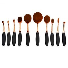 Makeup Brush Sets, PeleusTech 10Pcs Womens Exquisite Powder Brush Set Makeup Brush Making-Up Tool - Black   Rose Gold * Details can be found by clicking on the image.