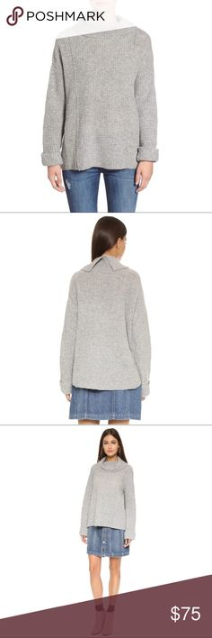 """{Free People} Side Winder Oversized cowl sweater A waffle print lends incredible texture to a slouchy wool pullover topped with a cozy cowl neckline.  Selling for a friend - worn twice. Light pilling due to the nature of the material.  c o n t e n t 100% wool  c o l o r + Gray  m e a s u r e m e n t s ✂️ + 24"""" bust (pit to pit) + 22"""" total length  h o s t  p i c k!   p a i r  w i t h 🌙  + Levi's rose embroidered denim  + Sam Edelman Blake boot 💵 bundle for a discount Free People Sweaters…"""
