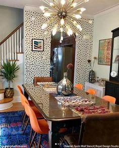 Cheetah Leopard Allover Spots Wall Stencil for Animal Print Decor – Royal Design Studio Stencils Casa Pop, Interior Minimalista, Interior Decorating, Interior Design, Decorating Office, Room Interior, Eclectic Decor, Eclectic Kitchen, Funky Home Decor