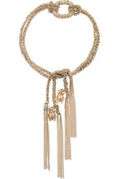 Carolina Bucci|Lucky 18-karat rose gold, silk and diamond charm bracelet |NET-A-PORTER.COM