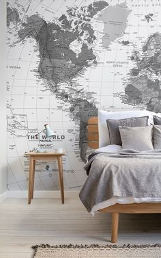 Black and White Map Wallpaper Mural Map Bedroom, Bedroom Themes, Bedroom Decor, World Map Mural, World Map Wallpaper, Feature Wall Bedroom, Classic Interior, Dream Home Design, Decoration