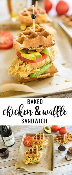Baked Chicken and Waffles Sandwich