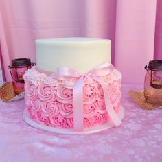Subtle pink ombre rosette cake. Made by Jackie of Pastel by Jackie Oxnard California.