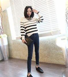Korean Fashion Pesonal Design Slim Pencil Jean