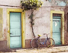 Old Bicycle Vintage Bike Rustic France Aqua Yellow by MiriamHamsa, $35.00
