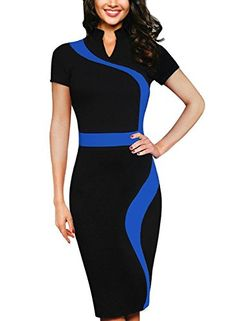 Meikeer Womens Classic Contrast Colorblock Slimming Casual Bodycon Pencil Dress * Check out this great product.