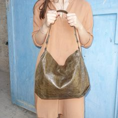 Olive Brown leather bag Soft and light brown by AdaBags on Etsy