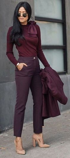 All burgundy monochrome outfit. So stylish, very professional. | Summer Business Casual Looks