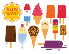 Title: Sun Days Ice Cream Collection Part 1   By Steve Mack Illustrator: Steve Mack All inquiries for images can be sent to: Steve Mack Illustrator steve@stevemack.com Lori Nowicki Painted Words Licensing Agent lori@painted-words.com