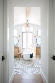 White Oak and Cement Tile Farmhouse Bathroom.