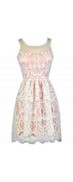 Lily Boutique Sweet Days Embroidered Ivory and Blush A-Line Dress, $76