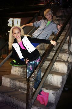 Carson Lueders and Jordyn Jones on the set of take over
