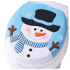 BESSKY Christmas Snowman Toilet Seat Cover Flannel Christmas Party Decoration Blue >>> Click on the image for additional details.