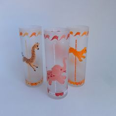 3 Libbey Merry Go Round Tall Cooler Frosted by VeejaysVintage