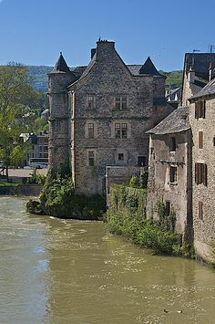 old chateau on the Lot River, Espalion, Midi-Pyrenees, France