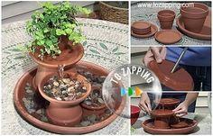 Cómo hacer fuente de agua feng shui.Hoy vamos a daros una idea genial para hacer una fuente de agua, para disfrutar en vuestro jardín o patio y poder pasar Diy Fountain, Garden Fountains, Feng Shui, Zen, Water Garden, The Hobbit, Bonsai, Ideas Para, Planter Pots