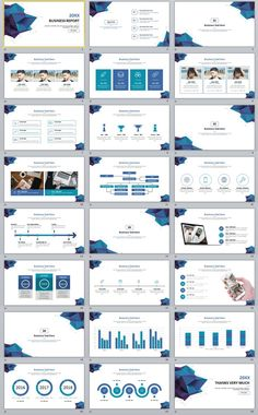 24+ Blue Business report chart PowerPoint Template