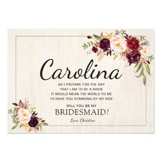 Rustic Boho Chic Will You Be My Bridesmaid Cards