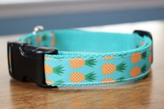 Bright Yellow and Turquoise Pineapple Dog Collar