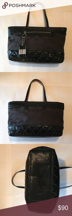 "Coach Purse Coach Purse with Patent Leather. 💯 Authentic.  Excellent condition. I used it twice.  It has two pockets and a zipper pocket on the inside. Dimensions are 9 1/2"" tall by 17"" wide.  No Trades. Coach Bags"