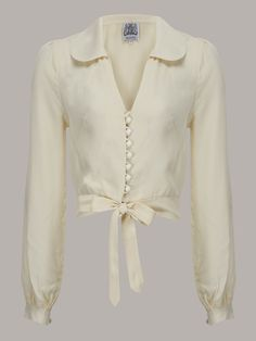 classic cream 1940s style blouse from The Seamstress of Bloomsbury avaianle from rocknromance.co.uk Vintage Blouses