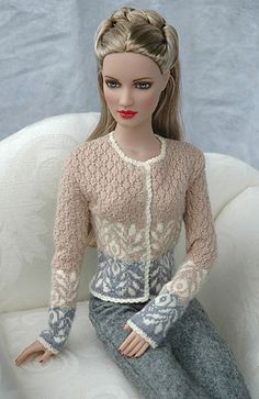 For Tyler doll or other similar size. She used Lion Brand Microspun to create this.What a gorgeous doll sweater!unknown Barbie but very prettyBeautiful sweater for Barbie that is knitted.Another Pinner Said--Normally I don't do doll clothes, but this one