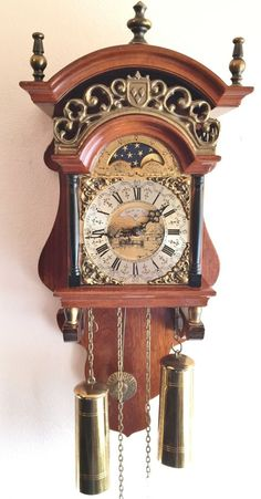 Ends on eBay today with low bids this Warmink Dutch Sallander Wall Clock  Nut Wood Weight
