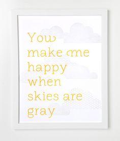 Letterpress Cloud Print You make me happy by sycamorestreetpress. $35.00, via Etsy.