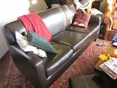 Clean the leather couch: 1/2 cup olive oil and 1/8 cup distilled white vinegar
