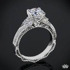 #White Flash # Verragio      This Diamond Engagement Ring is from the Verragio Venetian Collection. It features 0.45ctw of Round Brilliant Diamond Melee (F/G VS) that enhance a round diamond center of your choice. The width of this ring is 3mm. Select your diamond from our extensive online diamond inventory.