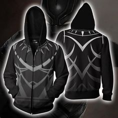 96ed48f0a Black Panther Costume Hoodie - Comic Black Panther Zip Up Jacket - Clothing