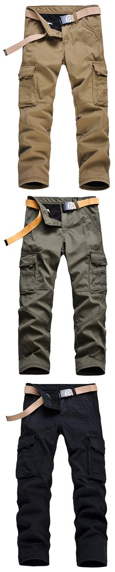 US$36.42 Mens Winter Thick Warm Cargo Pants Polar Fleece Lined Soild Color Big Pocket Casual Trouser