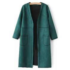 Pure Color V Neck 3/4 Sleeve Coat ($39) ❤ liked on Polyvore featuring outerwear, coats, jackets, three quarter coat, 3/4 sleeve coat and green coat