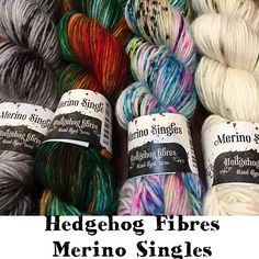 Merino Singles from Hedgehog Fibres superwash merino wool Yarn Category: DK (heavy DK/light worsted) Weight/Yardage: Gauge: sts = on US Care: machine wash, gentl Hedgehog Fibres, Wool Yarn, Merino Wool, Sts 1, Yarn Inspiration, Yarn Thread, Hand Dyed Yarn, Yarns, Knit Crochet