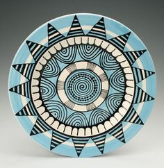 Bohemian Mandala Platter / Plate with Graphic by owlcreekceramics Painted Plates, Ceramic Plates, Ceramic Pottery, Pottery Art, Pottery Painting Designs, Pottery Designs, Pottery Ideas, Hand Painted Pottery, Hand Painted Ceramics