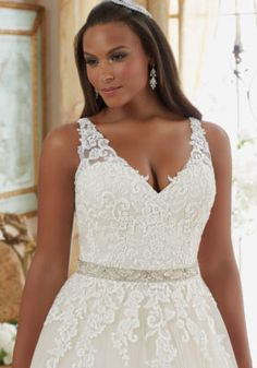 872fa48489a9 Lace on Tulle Ball Gown Plus Size Wedding Dress | Style 3208 | Morilee V  Neck