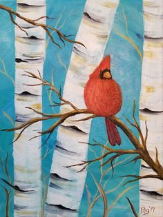 I love cardinals! They're the state bird for Virginia and this painting is one of my Paint & Nibble pieces. Bird Paintings On Canvas, Bird Painting Acrylic, Christmas Paintings On Canvas, Easy Canvas Painting, Christmas Canvas, Diy Canvas Art, Christmas Art, Diy Painting, Painting & Drawing