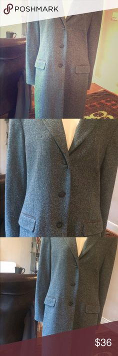 Greenish blue tweed looking wool long sharp jacket H&W wool/silk long button up sharp dress jacket with Button up front. Heavy weight...suede collar could use dry cleaning. This is a gorgeous piece in size 16. H&W Jackets & Coats Trench Coats