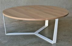 PURE coffee table on SALE by RZ interiors. PURE Collection Our coffee tables have a solid American Oak top with a powdercoated steel frame. Round Coffee Table, Round Dining Table, Dining Area, White Oak, Steel Frame, Interiors, Pure Products, Contemporary, Furniture Design