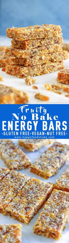 Homemade healthy no bake energy bars. These chewy & naturally sweet bars are made with dried dates and apricots. Vegan, gluten free & nut free recipe via @happyfoodstube Paleo Dessert, Healthy Baking, Healthy Treats, Healthy Bars, Healthy Lunches, Lunch Snacks, Healthy Food, Vegan Recipes, Snack Recipes