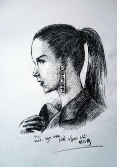 My paintings——Sketch Hand painted. 很久没有画真人物素描,来一张~~~2016.Sep.6中午完成——越南女模特+歌手+演员胡玉菏(越南语:Hồ Ngọc Hà)的侧面肖像画(炭笔素描)。她是越南、法国混血,所以几乎是欧洲人相貌了哈哈哈......她歌曲蛮好听的,我喜欢~~~~~