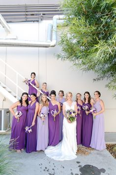 Modern Glamour in Rose Gold, Black and Gray at Avalon Palm Springs — Michelle Garibay Events Ombre Bridesmaid Dresses, Wedding Bridesmaids, Amsale Bridesmaid, Purple Wedding, Wedding Colors, Dream Wedding, Wedding Attire, Wedding Gowns, Wedding Bells