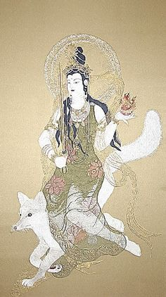 Dakiniten, Japanese translation of Tantric goddess Dakini. Some claim she is a fierce goddess requires your total devotion. But she is said to be very affectionate and grants your wishes and heals you.